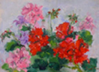Geraniums, painting by Jean Lester